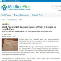 Most People Not Bargain Hunters When It Comes to Health Care
