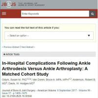 What complications are associated with ankle arthrodesis and ankle arthroplasty?