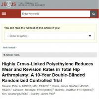 Highly cross-linked polyethylene (XLPE) liners linked to increased THA implant survival compared to UHMWPE